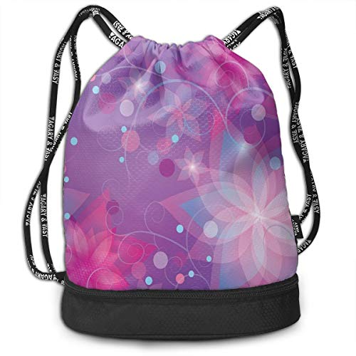 Printed Drawstring Backpacks Bags,Floral Dreamlike Composition with Romantic Lilies Little Dots Swirls,Adjustable String Closure Floral Swiss Dot