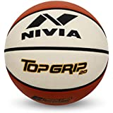 Nivia 1120 Top Grid 2.0 Rubber Basketball, Size 6 (White/Brown)