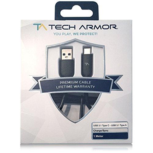 Tech Armor Hi-Speed Ladekabel USB Typ C 3.1 Stecker zu USB A Stecker - Smartphone synchronisieren & aufladen - lebenslange Garantie - Schwarz - 3FT