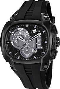 Lotus 15755-4 - Reloj analógico de cuarzo para hombre con correa de caucho, color negro