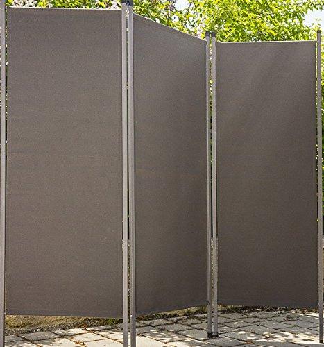 Paravent outdoor Metall / Stoff anthrazit Trennwand Sichtschutz Windschutz Sonnenschutz