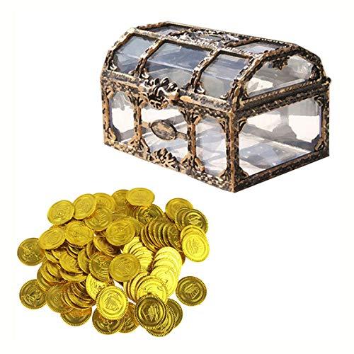 Toyvian Transparente Piratenbox Schatzkiste Truhen Aufbewahrungsbox mit Aufbewahrungsbox für Gold