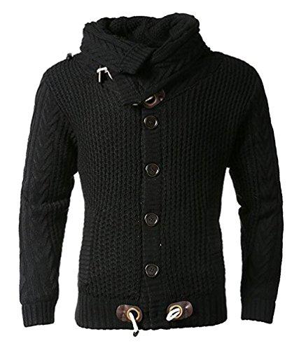 Brinny Herren Strickjacke Kragen Knopfen Warme Gesteppt Fleece Jacke Grobstrick Gefütterte Cardigan Mantel Sweatblazer (DE M (Hersteller Größe L), KS47-Schwarz)