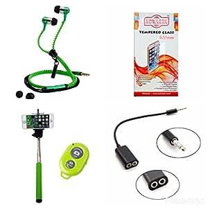 KONARRK 4 in 1 Combo of Selfie Stick Green, Zipper Earphones Green, Handsfree Splitter Black and Tempered Glass for LYF WATER4