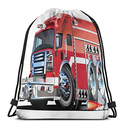 LLiopn Drawstring Sack Backpacks Bags,Big Fire Truck with Emergency Equipments Universal Safety Rescue Team Engine Cartoon,Adjustable.,5 Liter Capacity,Adjustable. -