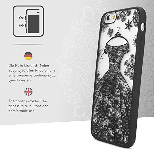 Urcover® Apple iPhone 6 / 6s Bride Case in Weiß | Hochzeit Braut-kleid Mädchen Design Abendkleid Rock | elegant Schutz-Hülle Zubehör Cover Schwarz