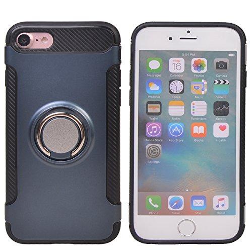 """Coque iPhone 7 Plus (5.5""""),COOLKE Haute qualité Etui Housse Robuste Protection de Double Couche d'Armure 360 Degrés Rotation Ring Holder Stand Protection case cover pour Apple iPhone 7 Plus (5.5"""") - O Deep Bleu"""