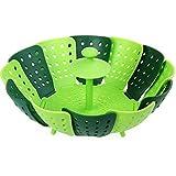 GuDoQi Apilable Pp Vaporizador De Silicona Plegable No Rayar Cesta Vegetal Cesta No Rayar Verde