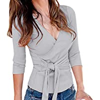 Hanomes Damen pullover, Frauen Solid Langarm V-Ausschnitt T-Shirt Hohe Taille Bandage Bluse lose Tops preisvergleich bei billige-tabletten.eu