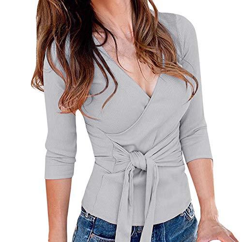 7781dea19206b2 TIREOW Damen Sexy V-Ausschnitt Wickelshirt Kurzarm Langarm Slim Fit Shirt  Bluse Obertail