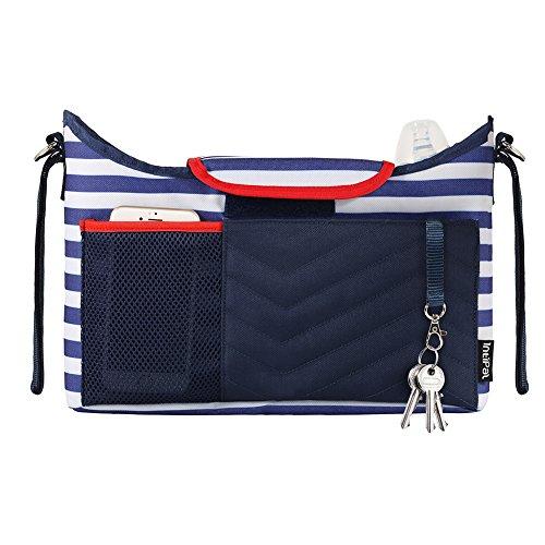 IntiPal Multifunktional Kinderwagen Organizer Buggy Tasche Wickeltasche Kinderwagentasche mit Wickelauflage RFID Tasche (Blau Streifen)