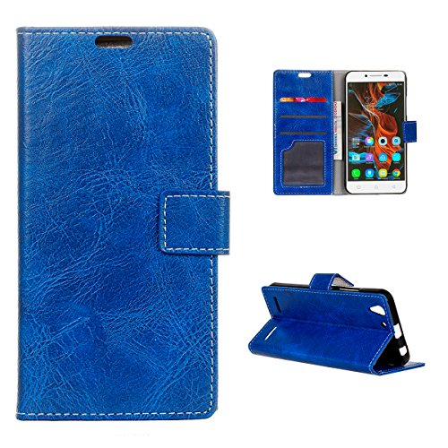 Casefirst Lenovo Vibe K5 K5 Plus Wallet Case, Lenovo Vibe K5 K5 Plus Leather Case, Premium PU Leather Defender Cover Case Folio Stand Bumper Back Cover for Lenovo Vibe K5 K5 Plus - Blue