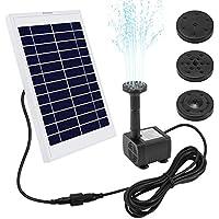 """Ankway pompe solaire 5W pompe à eau solaire avec fil 3.25M/128"""" pour bassin exterieur piscine d'étang, kit pompe solaire avec 3 modèles d'eau pour la circulation de l'eau, Débit maximum 380L/H"""