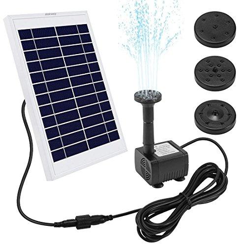 Ankway pompa acqua solare 5W pompa a fontana solare con cavo 3.25M, Pompa d\'acqua a energia solare di 12V per laghetto giardino piscina stagno esterno e circolazione dell\'acqua, Portata massima 380L/H