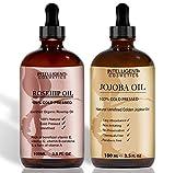Rosehip & olio di jojoba 100% pressato a freddo organico puro olio 100ml in ogni bottiglia più noto del viso e capelli oli contengono vitamina E, vitamina C, b-carotene e molti altri per viso, capelli, unghie, body, etc..
