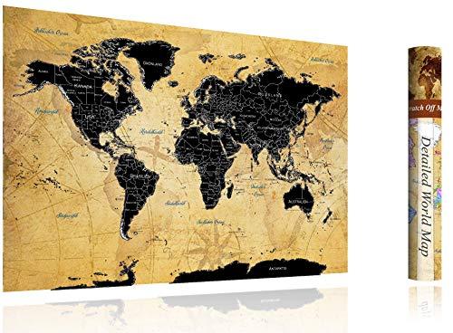 [FlyHigh] XXL Weltkarte Poster zum Rubbeln in Deutscher Sprache (82x60 cm) inklusive Klebesticker, Kratzwerkzeug und Mikrofasertuch (Schwarz)