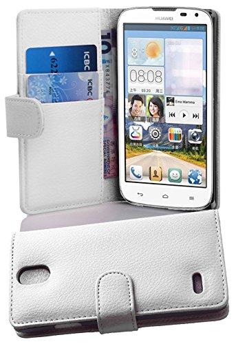 Cadorabo Hülle für Huawei Ascend G610 Hülle in Handyhülle mit Kartenfach aus Struktriertem Kunstleder Case Cover Schutzhülle Etui Tasche Book Klapp Style Magnesium Weiß