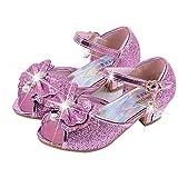 Scarpe con Paillettes da Ragazza Scarpe con Tacco Alto da Principessa Décolleté per Bambini 25 EU/Etichetta 27 Rosa(Punta Aperta)