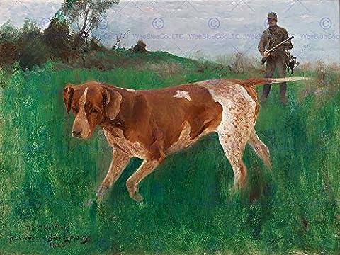PAINTING BRUNO LILJEFORS GUSTAF KOLTHOFF HUNTING DOG 1888 ART PRINT HP2134