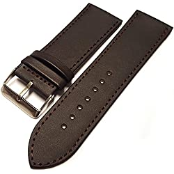 Brown Leather Watch Strap Band With A Stitched Edging And Nubuck Lining 22mm