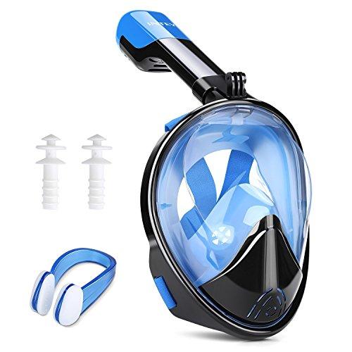 INTEY Schnorchelmaske Tauchmaske 180° Blickfeld Vollmaske mit Anti-Fog und Anti-Leak, Freies Atmen für Erwachsene und Jugendliche Wasser-brille Mit Schnorchel