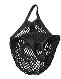 Mesh Bag Organic Cotton String Shopping Tote Net Woven Re-usable Bag - Black, 15inch