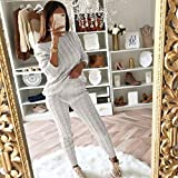 Jumpers and Sweatpants Tracksuits Womens Ladies Off Shoulder Bardot Cable Knitted Warm 2PC Loungewear Suit 2 Pieces Set