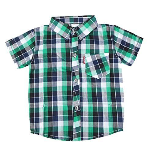 ALLAIBB Junge Kinder Plaid Button Down T-Shirt Kurzarm Sommer Freizeithemd 2-9Jahre Size 140 (Grün) - 3 Stück Plaid-t-shirt