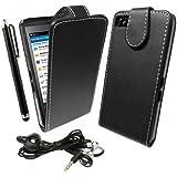 StyleBitz Etui à rabat pour BlackBerry Z10 / BB 10 au design élégant avec Kit mains libres/écouteurs BlackBerry + protecteur d'écran et stylet