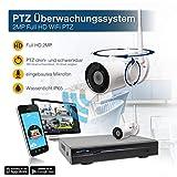 H.265+ NVR WLAN Funk NVR Überwachungssystem 1080p mit 2 dreh- und schwenkbare Full HD WiFi PTZ Überwachungskamera Videoüberwachung mit Mikrofon Bewegungserkennung Fernabfrage über App und PC Software