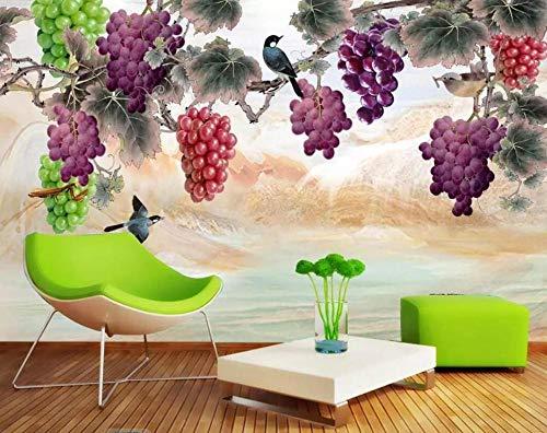 3D Vliestapete Fototapete Tapetenmalereien Chinesischen Stil Stift Handbemalt Lila Duft Trauben Tv Hintergrund Wandmalerei 3D Wallpaper @ 430 * 300 -