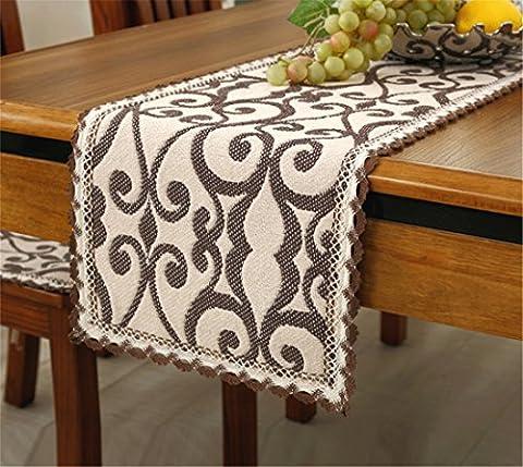 Handmade 100% cream cotton coffee flower table runner 110 *