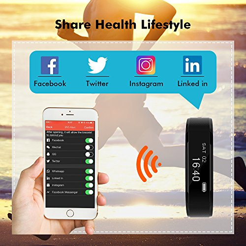 Ancheer Fitness Tracker, Activity Tracker Uhr Herzfrequenz Monitor Schritt / Schlaf / Kalorienzähler Call / SMS Erinnerung Armband Band Wasserdicht Wireless Bluetooth Wristband Smart Pedometer - 5