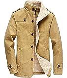 Adelina Herren Fleecejacke Winter Winddichte Military Jungen Jacke Outdoor Stoffjacke Canvas Langarm Revers Einreihig Wollmantel Coat (Color : 1 Khaki, Size : 2XL)
