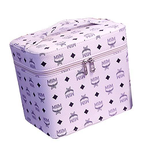 Portable PU portable cosmétique cas sac cosmétique grande capacité double couche cosmétique sac de rangement,White