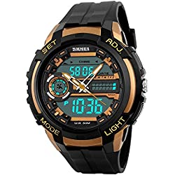 Skmei S-Shock Analogue-Digital Gold Dial Men's Watch - SKM-AD1202-Gold