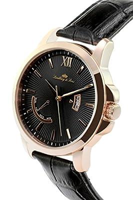 Lindberg & Sons LS15H5 - Reloj Pulsera analógico de Cuarzo para Hombre, Correa de Cuero Negra de Lindberg&Sons