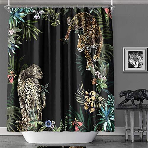 YAXIUFEN Duschvorhang, 20 Stile, 3D-Druck, Bedruckt, Polyester, wasserdicht, maschinenwaschbar, inklusive Haken, 180,9 x 182,9 cm Schwarz Leopard -