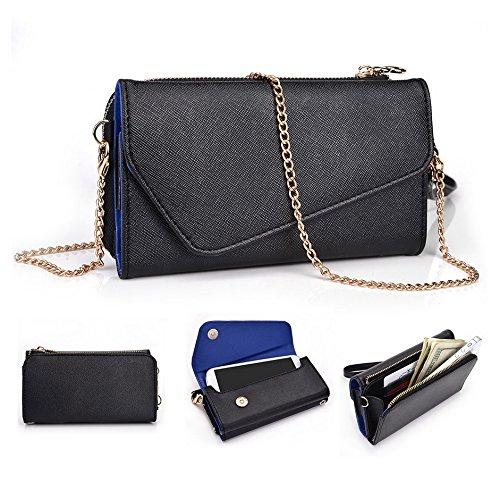 Kroo d'embrayage portefeuille avec Wristlet et bandoulière pour Motorola Moto G noir/gris Black and Blue