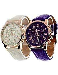 Geneva Platinum Analogue Multicolor Dial Women's Watch - 286