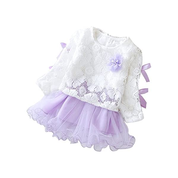 Tefamore Vestidos Bebe Niña, Recién Bebé Niñas Tutú Princesa Vestido Pentagram Bautizo Bebé Niñas Vestidos de Manga… 1