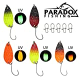 Paradox Fishing Forellen Spoon Set 5 Spoons 3g mit Box und 5 Snaps UV Forellenköder Set zum...
