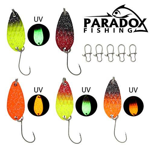 Paradox Fishing Forellen Spoon Set 5 Spoons 3g mit Box und 5 Snaps UV Forellenköder Set zum Forellen Angeln Forellen Blinker - Spoons Forelle