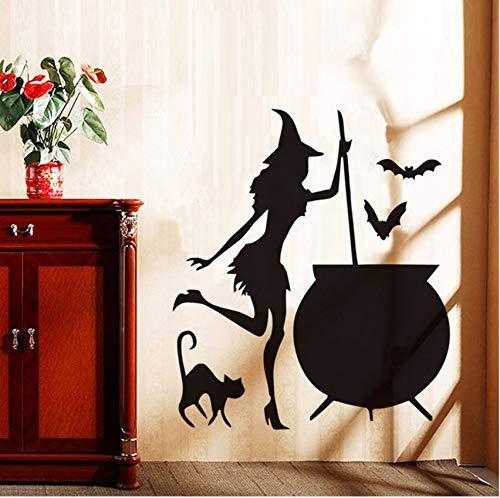 (Lvabc Halloween Fliegende Fledermäuse Katze Hexen Wandaufkleber Wohnzimmer Wand Fenster Dekor Hexe Silhouette Vinyl Aufkleber Abnehmbare Kunst Wandbild)