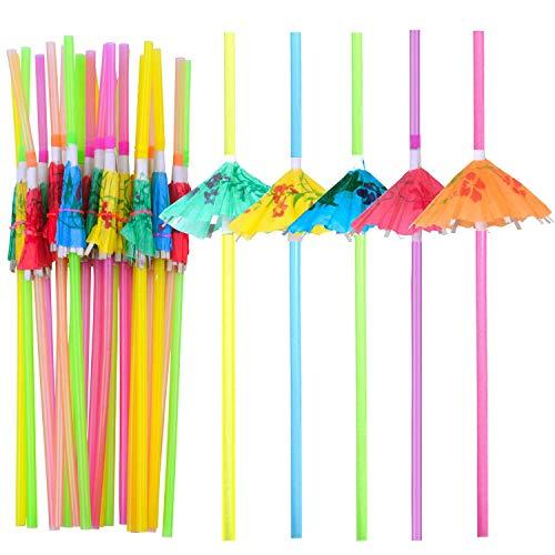 Bronagrand 100pezzi pieghevole ombrello cannucce usa e getta in plastica senza bpa con carta cannucce ombrellone per tropicali, cocktail, hawaiano, barbecue e beach party a tema (colori assortiti)