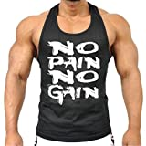 Mens MMA GYM BODYBUILDING MOTIVATION VEST BEST WORKOUT CLOTHING TRAINING TOP (Black, Large)