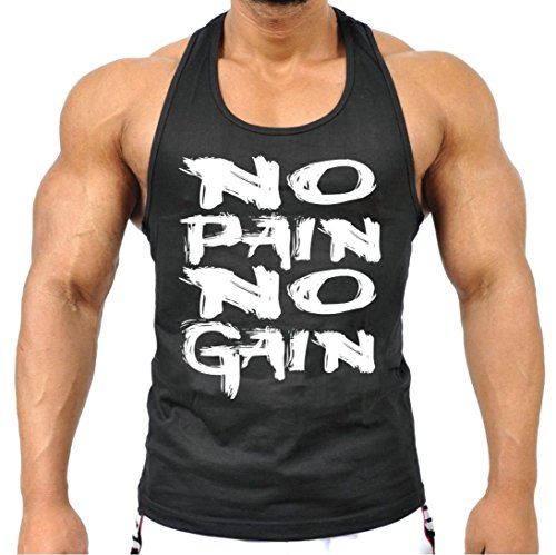 Mens MMA GYM BODYBUILDING MOTIVATION VEST BEST WORKOUT CLOTHING TRAINING TOP (Black, Large)