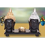 Mariner's Creation Set Of Two Buddha FACE Idol With Tray & T Light Holder For Home Decor |Statue For Bedroom,Living Room,Office ETC | House Warming Gift Showpiece