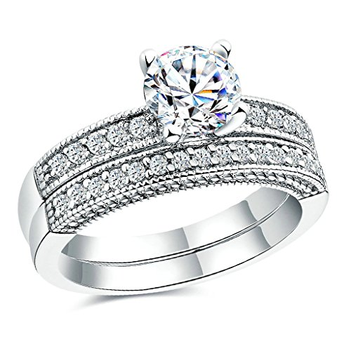 Bishilin Gold Plated Rings Womens White Gold Round and Princess Cut Zirconia Finger Wedding Bands Size:P 1/2