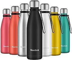 Newdora - Botella de Agua Acero Inoxidable 500ml, Aislamiento de Vacío de Doble Pared, Botellas de Frío/Caliente, con 1...